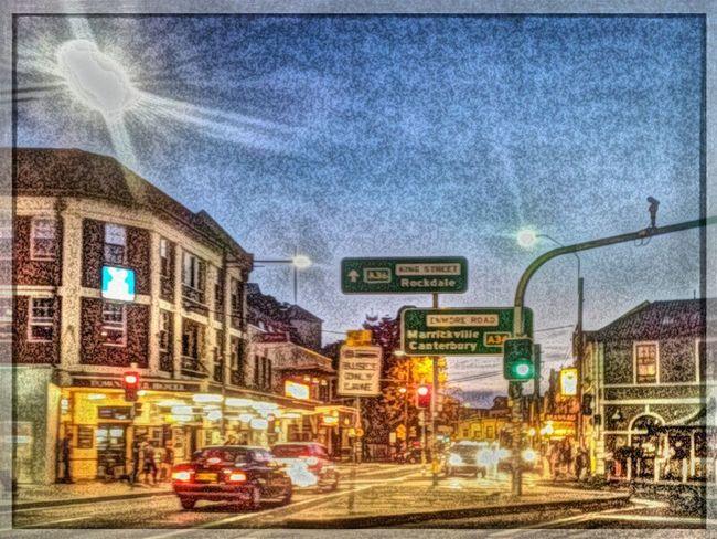 Newtown at Dusk . King Street Traffic Signs Sydney, Australia Innerwest Sketchified Painteresque