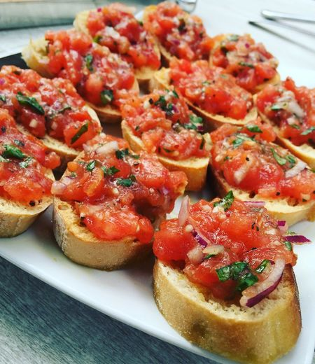 Bruschetta Basil Tomato Onions Baguette Food Plate Appetizer Gourmet Close-up Food And Drink Italian Food