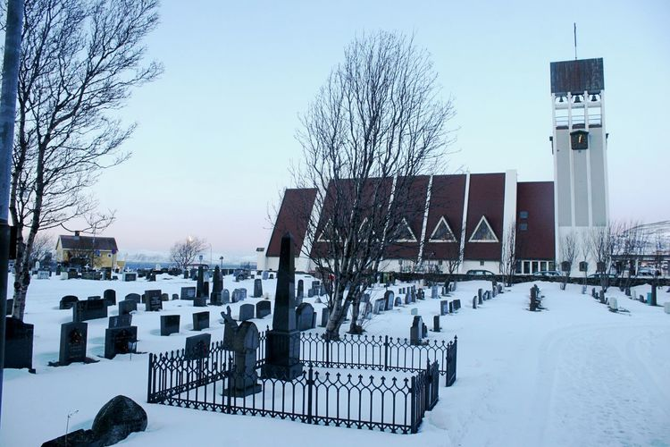 Church Architecture Bare Tree Building Exterior Cemetery Clear Sky Cold Temperature Day Gravestone Graveyard No People Outdoors Sky Snow Weather Winter