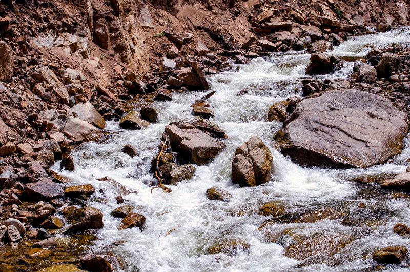 White rapids cascade through the canyon in the eldorado canyon state park near boulder colorado usa