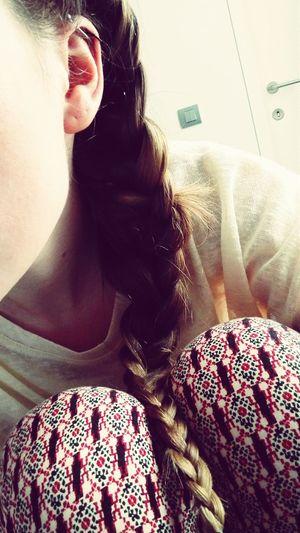 Industrial Piercing Piercing Ear Piercing Blonde Girl Braid Print Printed Pants