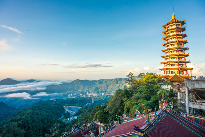 Sun shines on a Taoist Templ Ancient Architecture Blue Business Finance And Industry Chinese Architecture City Cityscape Cultures History House Of Worship Kuala Lumpur Landscape Malaysia Outdoors Place Of Worship Religion Scenics Sky Taoism Temple Tourism Travel Travel Destinations Tree Urban Skyline