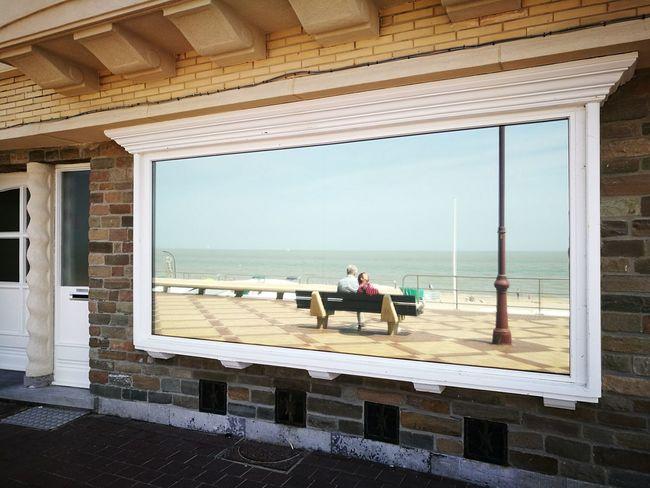 Fensterbild De Haan Belgium Carmente De Haan Water Sea Beach Sitting Sky Architecture