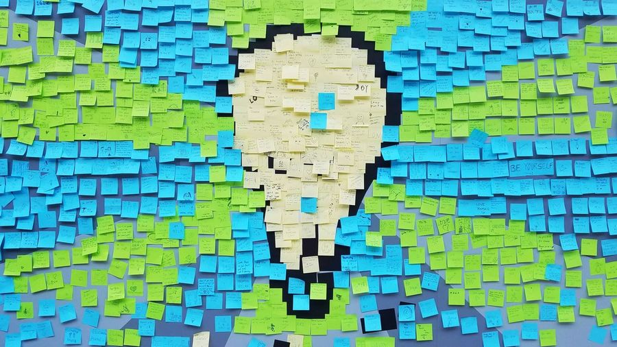 Multi Colored Vibrant Color Technology No People Text Close-up Pixelated Internet Day Cyberspace Sticky Notes Stay Positive Light Bulb YYC Yyc Calgary Alberta Canada