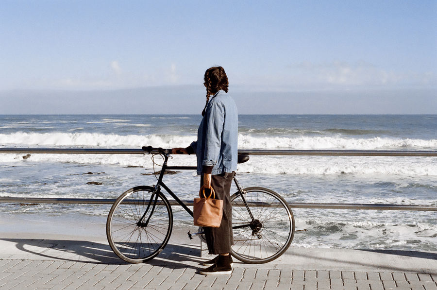 35mm Film Autumn Cape Town Clear Sky Nikon Ocean View Promenade Sunny Woman Bicycle Leisure Activity Ocean Sky