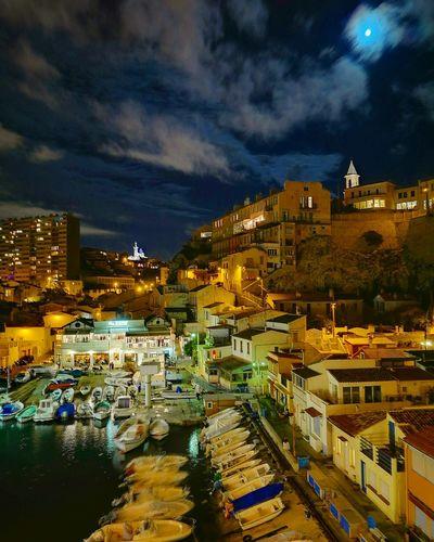Sky City Night Urban Skyline Marseille Vallon Des Auffes Fullmoon Moonlight Goodnight Moon The City Light