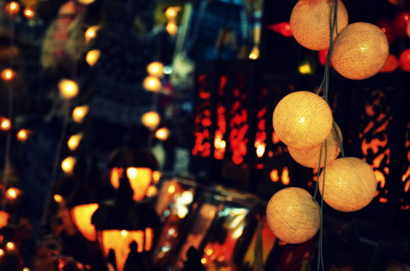 """""""Let there be lanterns"""" Close-up Colorful Cultures Decoration Focus On Foreground Glowing Hanging Illuminated Lantern Large Group Of Objects Multi Colored Night No People Outdoors Selective Focus Tradition Eyeemphoto"""