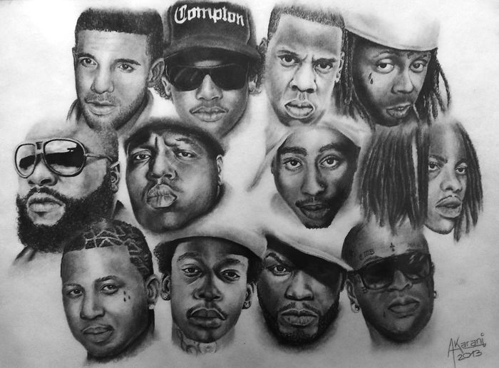 Portrait Drawing of Rappers 2pac watch this drawing on youtube - > Red Flash Art