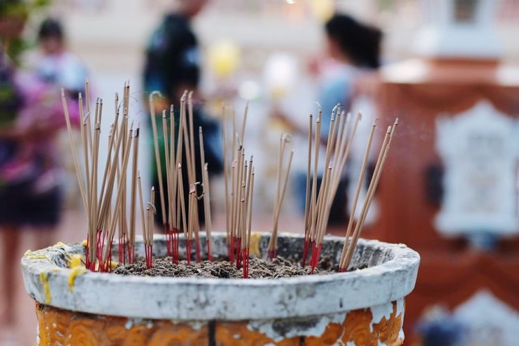 Incense Sticks Burning Outside Temple