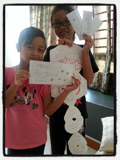 Tq girls for d effort in creating cards on my special day so call