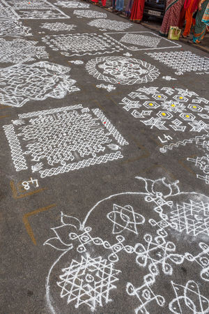 Indian traditional kolam (in tamil language) or rangoli is drawn using white colored rice during festival season Abstract Photography Diwali Festival Season Hindu Hinduism Holiday Pattern, Texture, Shape And Form Rice Arts Culture And Entertainment Close-up Color Cultural Culture And Tradition Decoration Design Drawing - Art Product Flour Handmade Mylapore Outdoor Photography Pongal Streetphotography Tamilnadu Tamilnadutourism Traditional