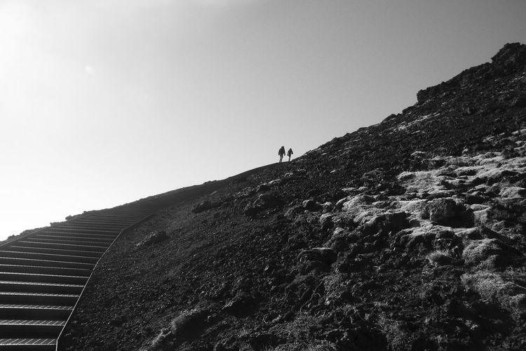 Beauty In Nature Blackandwhite Clear Sky Climbing Crater Lake Day Low Angle View Mountain Nature Outdoors People Real People Rock - Object Scenics Sky Slope Steps Tranquility Volcano Live For The Story Let's Go. Together.