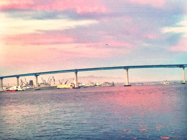 Transportation Bridge Bridge - Man Made Structure Golden Hour Blue Sky With Amazing Clouds In Background Sky Is Cotton Candy Sky Reflections In The Water Cotton And Candy Sky Sky Is Pink And Blue Clouds Reflections In The Water Coronado Bridge