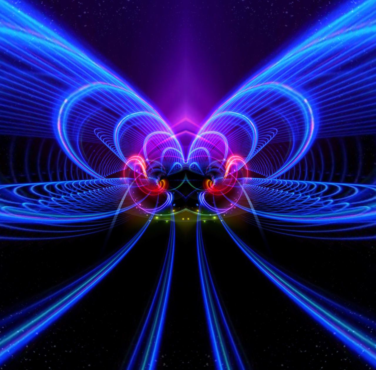 illuminated, technology, glowing, abstract, pattern, light - natural phenomenon, long exposure, connection, blue, motion, futuristic, night, communication, light trail, multi colored, no people, light beam, bandwidth, indoors, black background, electricity