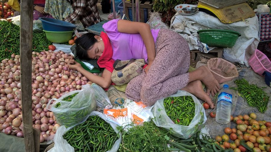 ASIA Asian Culture Asian Culture Asian Girl Asian  Sleeping ASIA Casual Clothing Choice Food Freshness Fruit Healthy Eating High Angle View Innocence Large Group Of Objects Market Market Stall Myanmar One Person Outdoors Real People Retail  Sleeping Sleeping Time Vegetable Wellbeing Women The Portraitist - 2018 EyeEm Awards