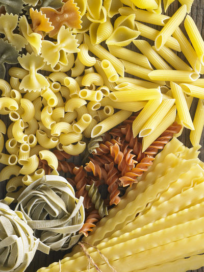 Directly above shot of various pastas