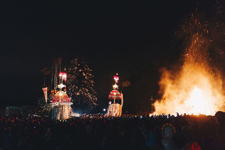Crowd Celebrating At Night