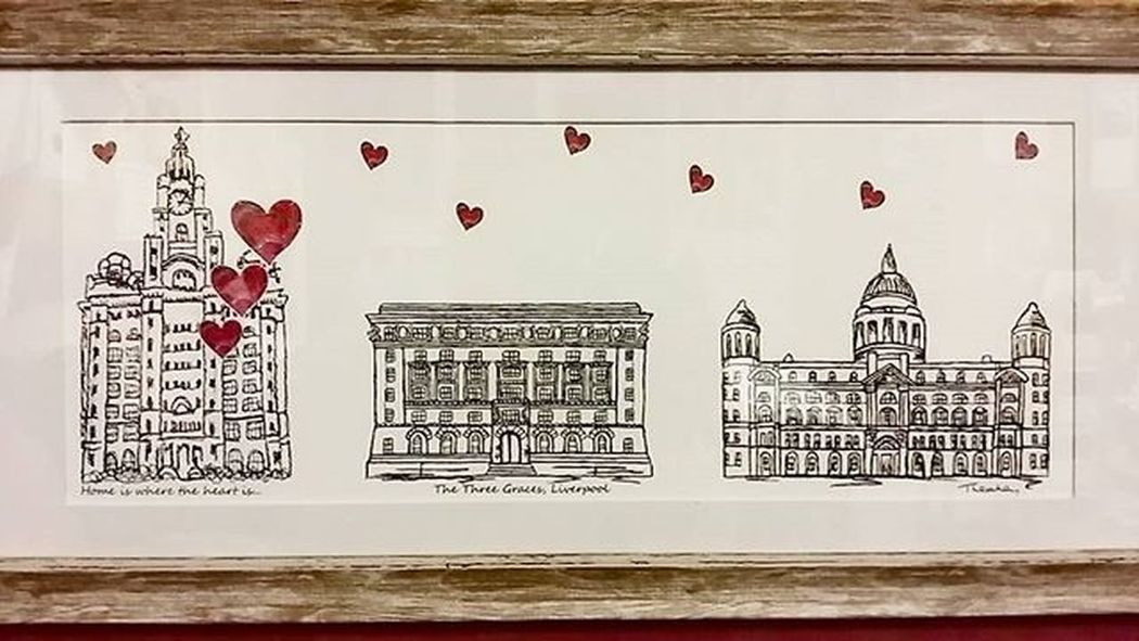 "Picked up this lovely artwork at Inglenook Farmer's Market on Sunday. Beautiful ink drawings of the Three Graces, Liverpool entitled ""Home is where the heart is"". Inglenookfarm Threegraces Liverpool"