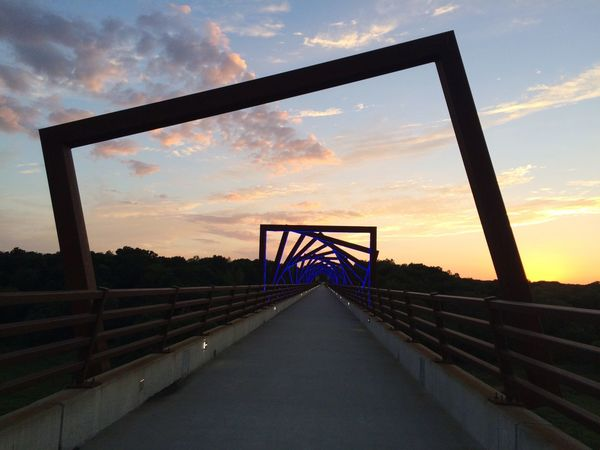 Sunset Des Moines, Iowa Bridge Sky Vanishing Point Outdoors