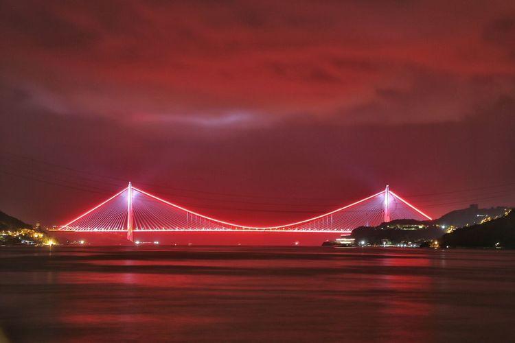 Bridge Night Sky Modern City Yavuz Sultan Selim Köprüsü 3.köprü Red Panorama Panoramic Photography Paradise Ufuk New Europ Istanbul Turkey Istanbul City Türkiye Natural Holiday Turkey Night Lights Light Love Art