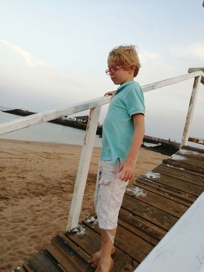 Water Child Childhood Sea Males  Blond Hair Boys Beach Standing Full Length