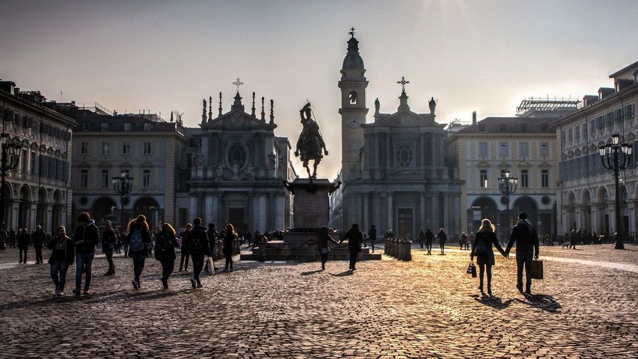 People outside cathedral at piazza san carlo