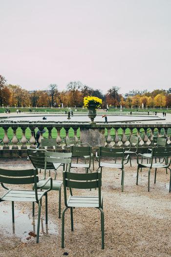 Jardin Du Luxembourg Paris Chair Empty Balustrade Park Outdoors Autumn Fall