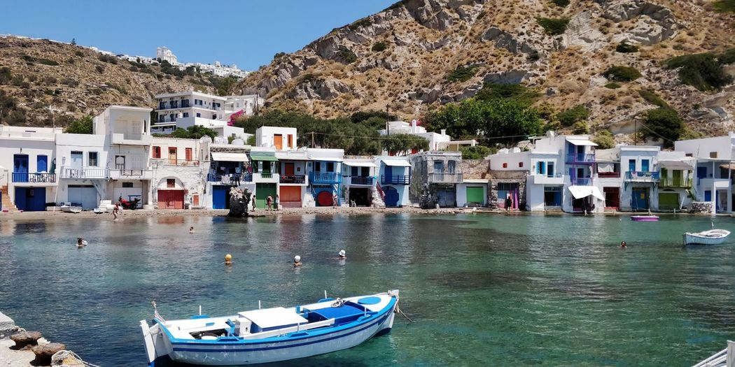OnePlus 5t 3XSPUnity Greece île De Milos EyeEm Selects Water Mountain Nautical Vessel Beach Town Waterfront Tree Architecture Sky Building Exterior TOWNSCAPE Calm Rocky Mountains Shore Countryside Coastline