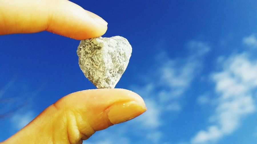 Stone,heart, sky Human Body Part Sky One Person Holding Outdoors EyeEmNewHere