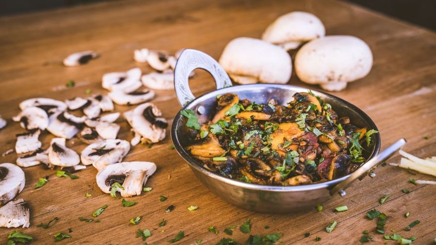 Indian Food Indian Food And Drink Food Freshness Wellbeing Healthy Eating Vegetable High Angle View Table No People Still Life Bowl Indoors  Mushroom Close-up Edible Mushroom Focus On Foreground Serving Size Ready-to-eat Wood - Material Preparation