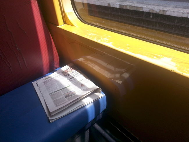 Paint The Town Yellow Indoors  No People Public Transportation Train - Vehicle Transportation Vehicle Seat Window