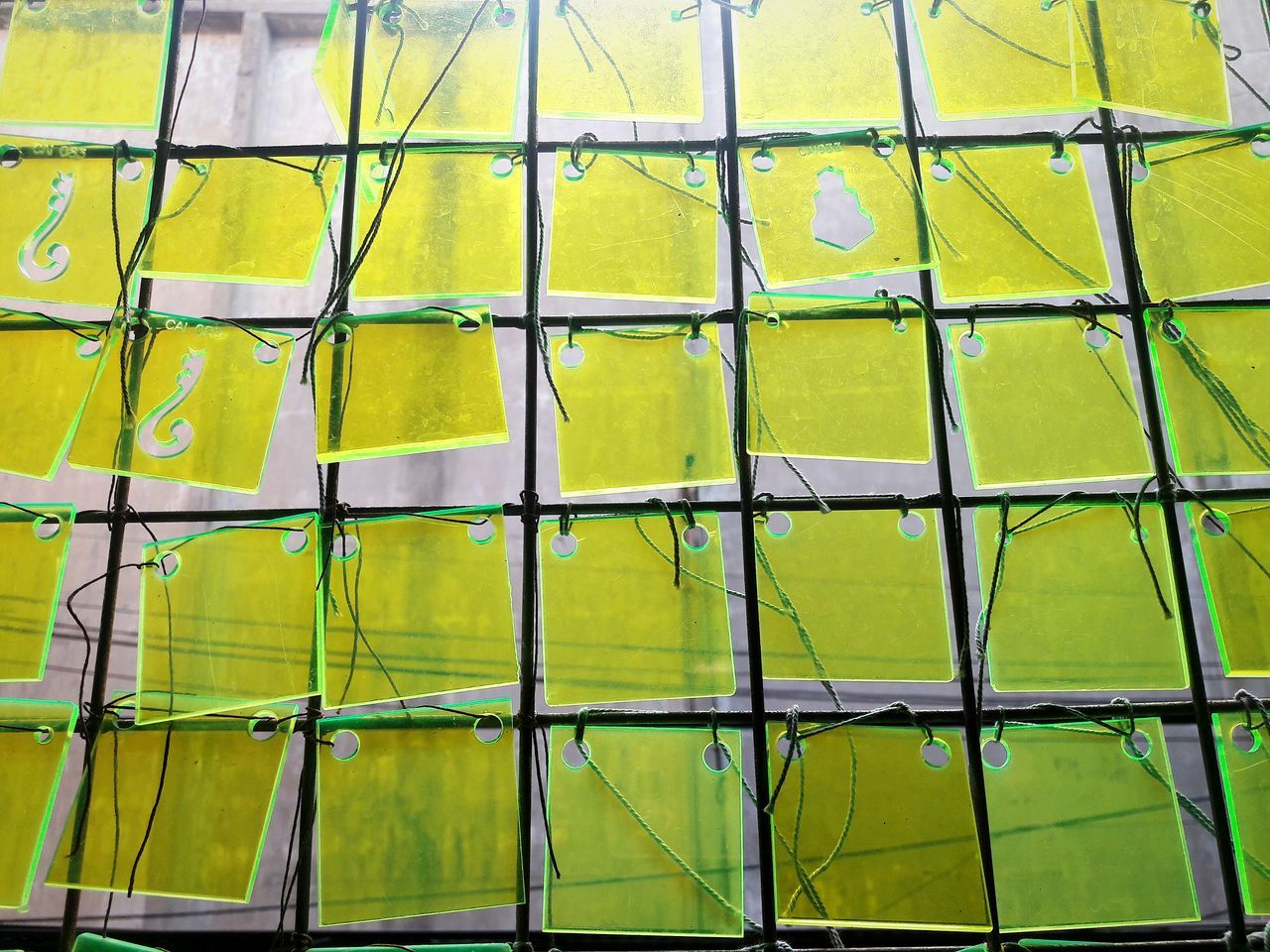 full frame, yellow, backgrounds, green color, security, protection, safety, no people, day, close-up, pattern, outdoors