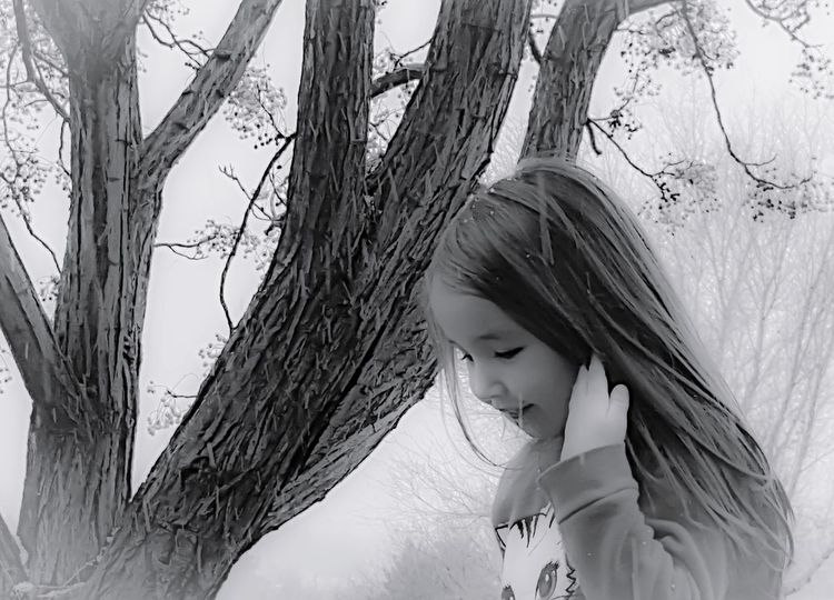 Snow Beauty High Contrast Portrait Black & White Black And White Childhood Chill Cold Weather Cold Days Cold Day Child Children Only One Person One Girl Only Childhood Headshot People Tree Girls Tree Trunk Close-up