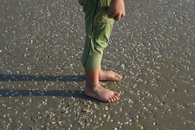 Low section of boy walking on beach