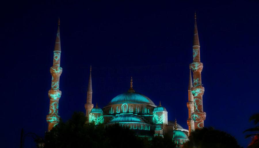 Hagia Sophia Mosque Lit Up At Night