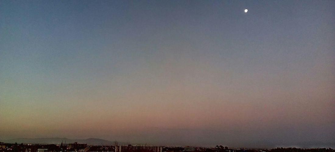 City Cityscape Sunset Sky Moon Foggy Atmospheric Mood