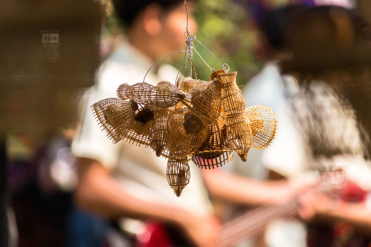 Basket Close-up Day Focus On Foreground Handicraft Handicraft Work Hanging Market Outdoors Real People Retail  Selective Focus Weaving