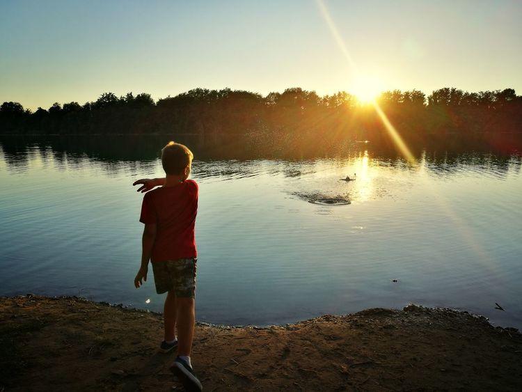Water Full Length Sunset Lake Clear Sky Sunlight Summer Standing Boys Rear View HUAWEI Photo Award: After Dark Autumn Mood