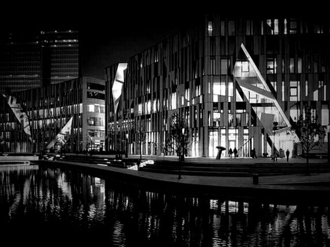 Night Lights Darkness And Light Light And Shadow Urban Geometry Architecture_bw Architecture_collection Monochrome Water Reflections Eye4photography  Eye4black&white