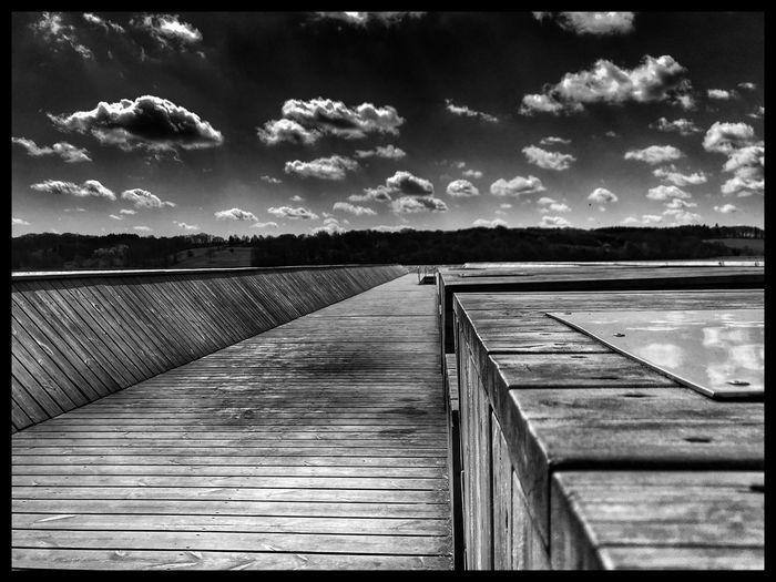 Koldingfjord Kolding Sky Auto Post Production Filter Transfer Print Cloud - Sky Water Direction The Way Forward Diminishing Perspective No People Day Wood Pier Wood Paneling