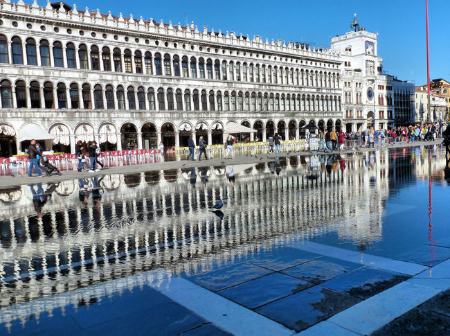 Architecture Building Exterior Built Structure City Life Façade Famous Place International Landmark St Marks Square Urban Water Reflections