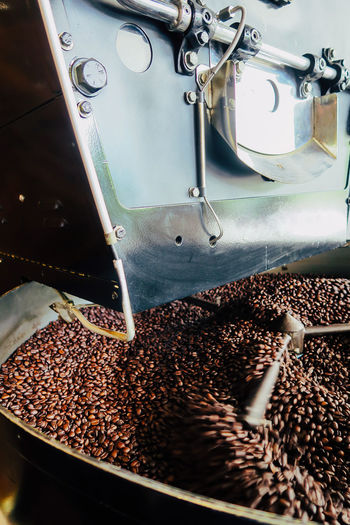 High angle view of coffee beans