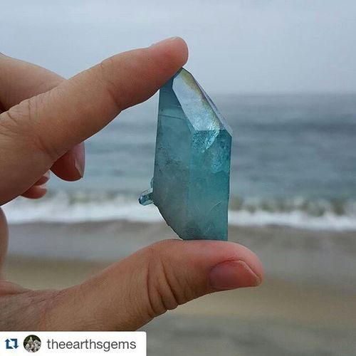 Repost @theearthsgems ・・・ Another rainy day at the beach Beach Carlsbad AquaAuraQuartz crystals crystalsforsale