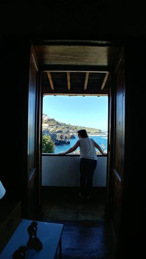 Hollidays Sea Ocean Woman Canary Islands Tenerife Garachico Window Domestic Life Sky
