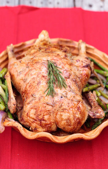 Close-Up Of Roast Chicken In Container On Table