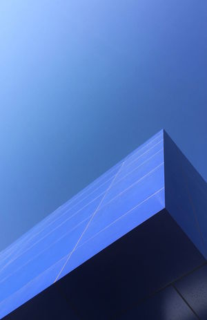 Architecture Blue Built Structure Clear Sky Day Low Angle View Minimalist Architecture Modern Nature No People Outdoors Sky Solar Panel Technology The Architect - 2017 EyeEm Awards Urban Color Urban Geometry The Graphic City