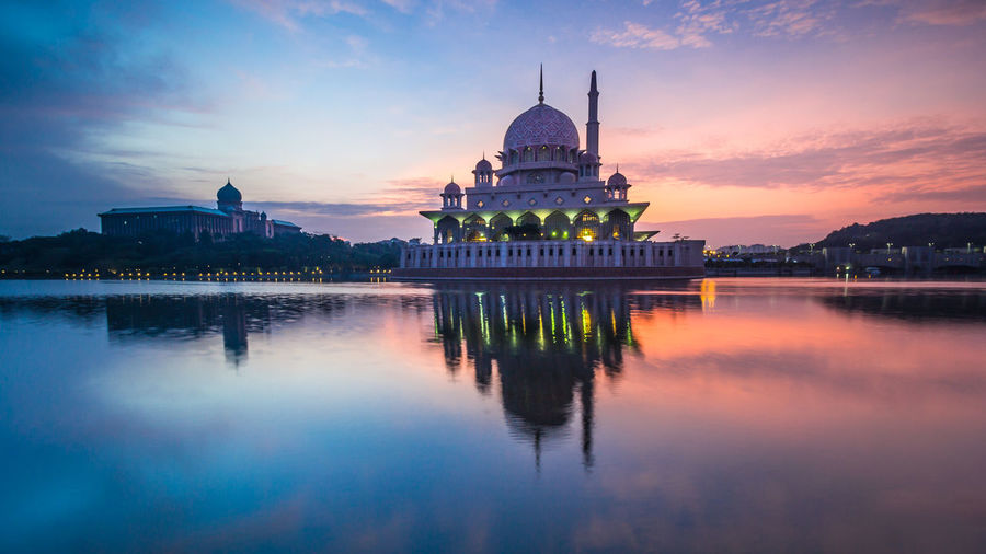 Architecture Belief Building Building Exterior Built Structure Dome Lake No People Outdoors Place Of Worship Reflection Religion Sky Spire  Spirituality Sunset Travel Water Waterfront