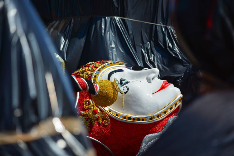Close-up of mask lying on grownd
