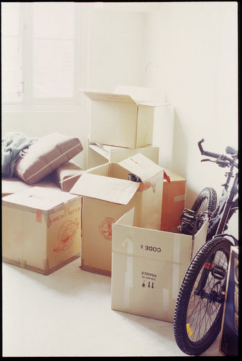 burn out effect: moving house Appartment Bike Box Boxes Bright Brite Burnt Out Container Cycle Home Interior Indoors  Living Moving Over Exposed Packing Packing Cases Relocated Relocation Stack