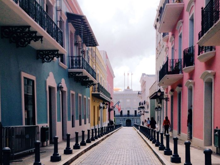 Town Centre Puerto Rico Viejo San Juan Vacation Destination Calming Mother And Daughter Time Quick Shot Blue Building Pink